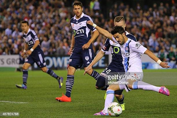 David Villa of Melbourne City kicks the ball during the round three A-League match between the Melbourne Victory and Melbourne City at Etihad Stadium...