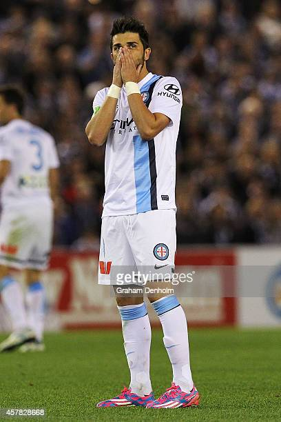 David Villa of Melbourne City looks dejected following the round three ALeague match between the Melbourne Victory and Melbourne City at Etihad...