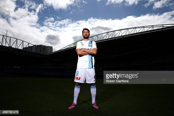 David Villa of Melbourne City poses during the ALeague 201415 Season launch at Etihad Stadium on October 7 2014 in Melbourne Australia