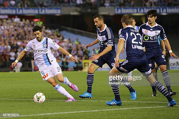 David Villa of Melbourne City runs with the ball during the round three A-League match between the Melbourne Victory and Melbourne City at Etihad...