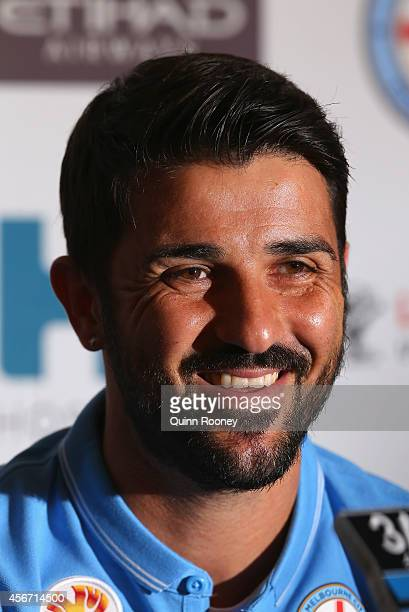 David Villa of Melbourne City speaks to the media during a Melbourne City Football Club Press Conference at AAMI Park on October 6 2014 in Melbourne...