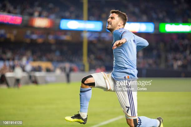David Villa of New York City celebrates after scoring his sides second goal during the New York City FC Vs Philadelphia Union MLS Eastern Conference...