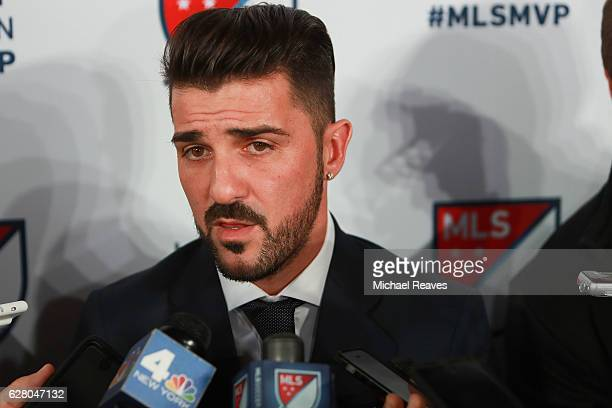 David Villa of New York City FC addresses the media after being presented with the 2016 Landon Donovan MLS MVP trophy at Spring Studios on December...