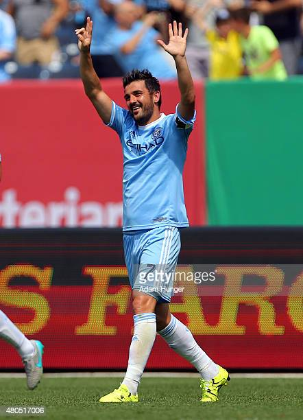 David Villa of New York City FC celebrates after scoring a goal against the Toronto FC during a soccer game at Yankee Stadium on July 12 2015 in the...