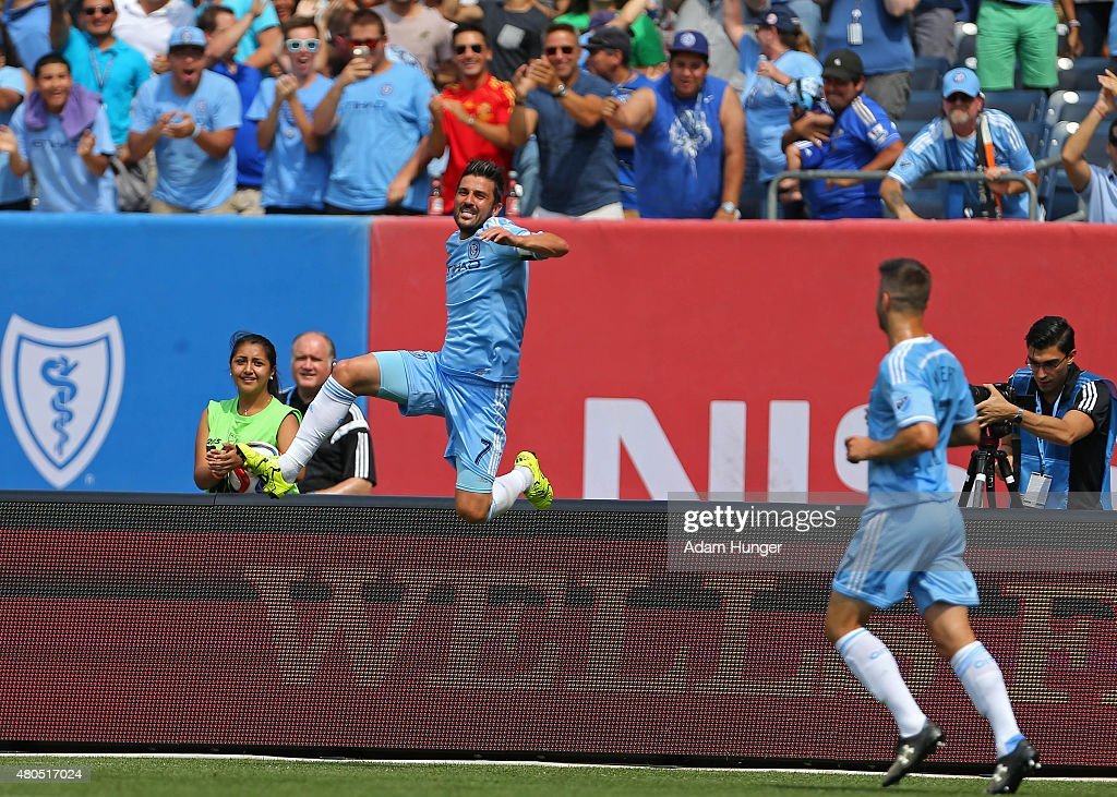 David Villa #7 of New York City FC celebrates after scoring a goal against the Toronto FC during a soccer game at Yankee Stadium on July 12, 2015 in the Bronx borough of New York City.