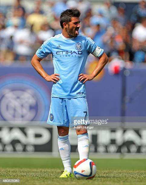 David Villa of New York City FC in action against the Toronto FC during a soccer game at Yankee Stadium on July 12 2015 in the Bronx borough of New...