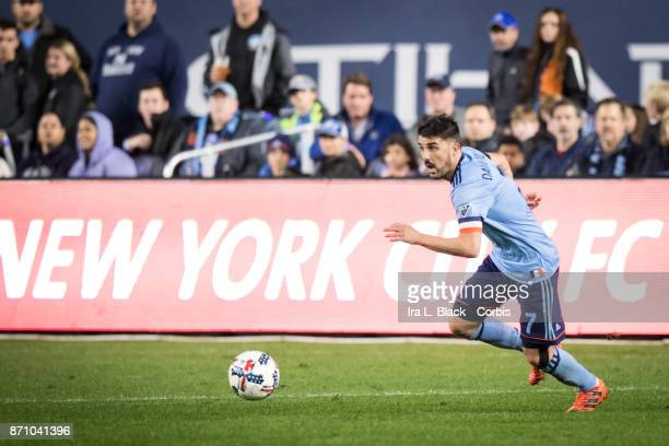 David Villa of New York City FC makes a move to the goal during the Audi MLS Eastern Conference Semifinal Leg 2 match between New York City FC vs...