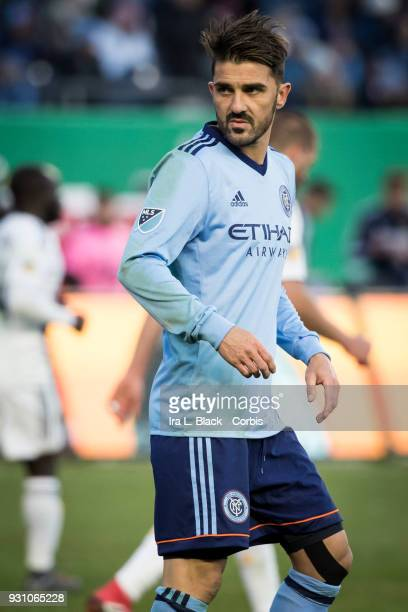 David Villa of New York City gives a look back to the goal keeper during the MLS Regular Season Home Opener between New York City FC and LA Galaxy at...