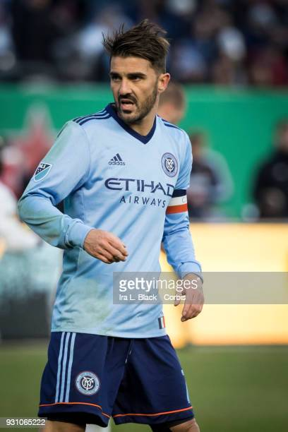 David Villa of New York City looks to see if there is an opportunity to take the ball away from the goalkeeper during the MLS Regular Season Home...