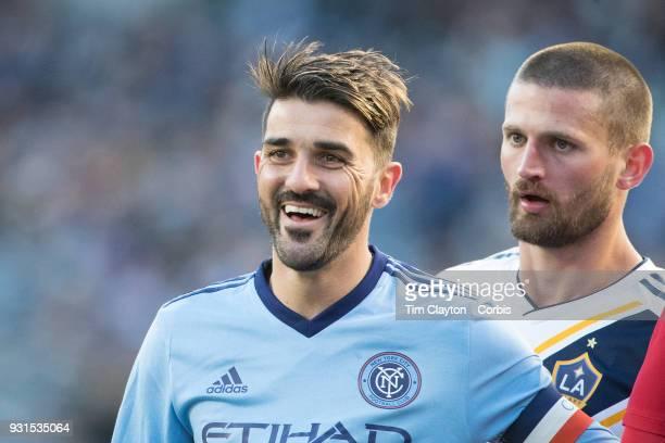 David Villa of New York City marked by Perry Kitchen of Los Angeles Galaxy during the New York City FC Vs LA Galaxy regular season MLS game at Yankee...