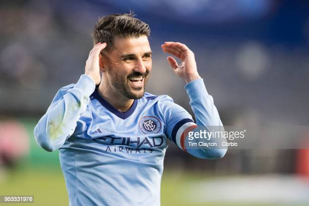 David Villa of New York City reacts during the match in which he scored his 400th career goal during the New York City FC Vs FC Dallas regular season...