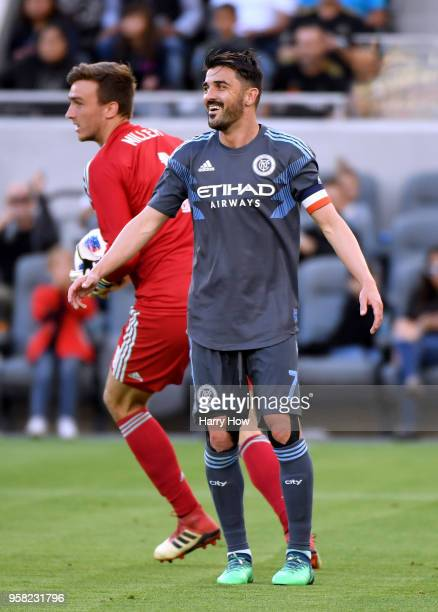 David Villa of New York City reacts to a missed chance in front of Tyler Miller of Los Angeles FC during the first half at Banc of California Stadium...