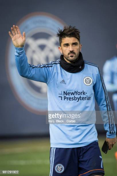 David Villa of New York City waves to fans with ice on his leg after an injury during the MLS Regular Season Home Opener between New York City FC and...