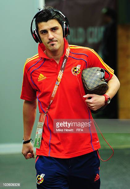 David Villa of Spain arrives for the 2010 FIFA World Cup South Africa Quarter Final match between Paraguay and Spain at Ellis Park Stadium on July 3...
