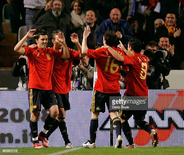 David Villa of Spain celebrates after scoring a goal during the friendly International soccer match between Spain and Italy at the Martinez Valero...