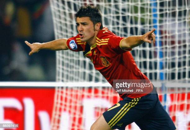 David Villa of Spain celebrates after scoring during the FIFA Confederations Cup match between Spain and South Africa at the Free State stadium on...
