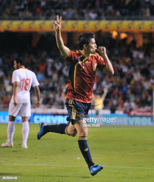 David Villa of Spain celebrates after scoring Spain's second goal during the Group 5 FIFA2010 World Cup Qualifier match between Spain and Belgium at...