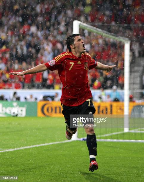 David Villa of Spain celebrates after scoring the second goal during the UEFA EURO 2008 Group D match between Spain and Russia at Stadion Tivoli Neu...