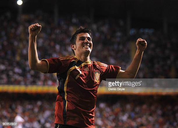 David Villa of Spain celebrates after setting up Spain's third goal during the Group 5 FIFA2010 World Cup Qualifier match between Spain and Belgium...