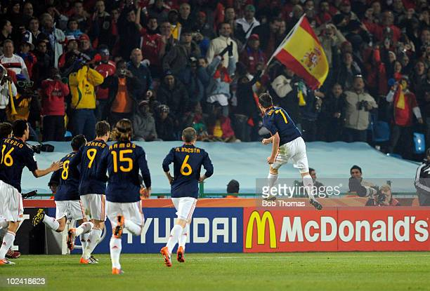 David Villa of Spain celebrates his goal during the 2010 FIFA World Cup South Africa Group H match between Chile and Spain at Loftus Versfeld Stadium...