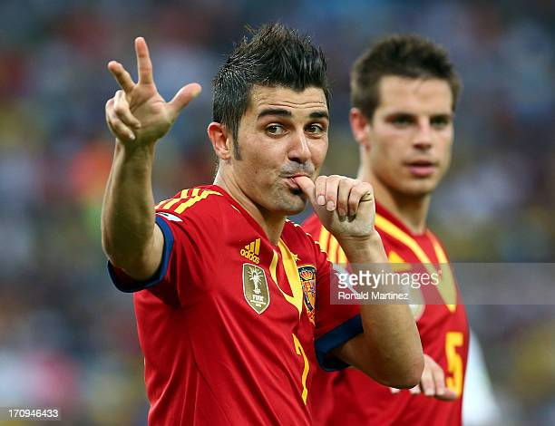 David Villa of Spain celebrates scoring his team's fifth goal during the FIFA Confederations Cup Brazil 2013 Group B match between Spain and Tahiti...