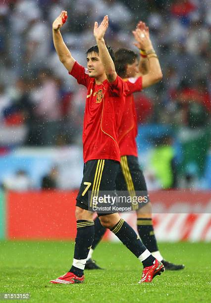 David Villa of Spain celebrates victory after the UEFA EURO 2008 Group D match between Spain and Russia at Stadion Tivoli Neu on June 10 2008 in...