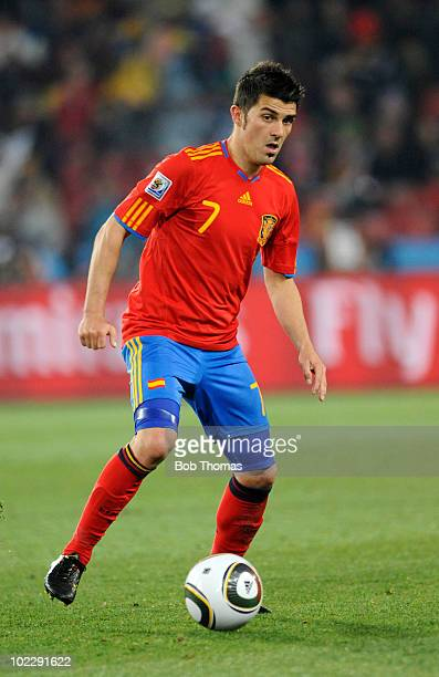 David Villa of Spain during the 2010 FIFA World Cup South Africa Group H match between Spain and Honduras at Ellis Park Stadium on June 21 2010 in...