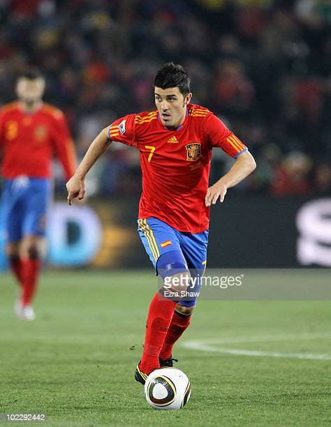 David Villa of Spain in action during the 2010 FIFA World Cup South Africa Group H match between Spain and Honduras at Ellis Park Stadium on June 21...