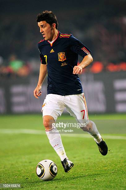 David Villa of Spain in action during the 2010 FIFA World Cup South Africa Group H match between Chile and Spain at Loftus Versfeld Stadium on June...
