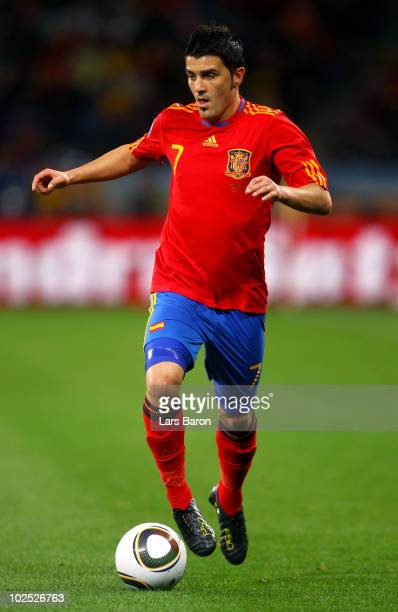 David Villa of Spain in action during the 2010 FIFA World Cup South Africa Round of Sixteen match between Spain and Portugal at Green Point Stadium...