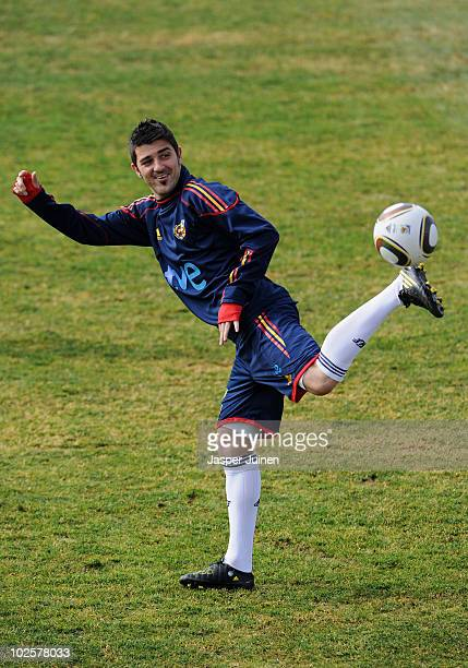 David Villa of Spain juggles the ball during a training session, ahead of their World Cup 2010 Quarter-Final match against Paraguay, on July 2, 2010...