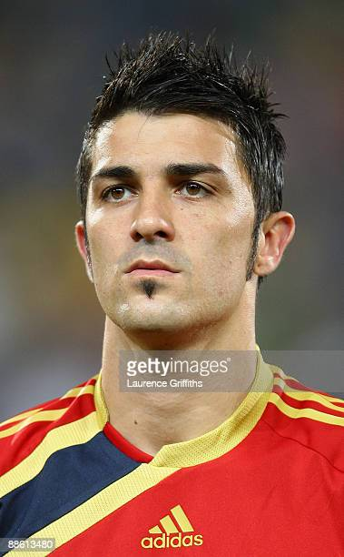 David Villa of Spain lines up for the National Anthem during the FIFA Confederations Cup match between Spain and South Africa at Free State Stadium...