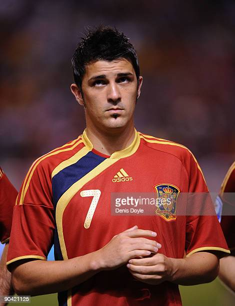 David Villa of Spain lines-up before the Group 5 FIFA2010 World Cup Qualifier match between Spain and Belgium at the Riazor stadium on September 5,...