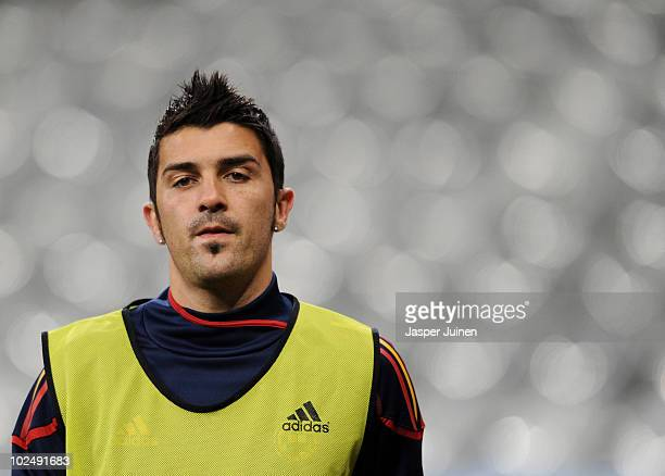 David Villa of Spain looks on during a training session, ahead of their 2010 World Cup Stage 2 Round of 16 match against Portugal, at the Green Point...