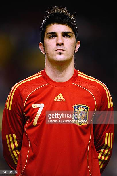 David Villa of Spain looks on prior to the International Friendly between Spain and England at the Ramon Sanchez Pizjuan Stadium on February 11 2009...