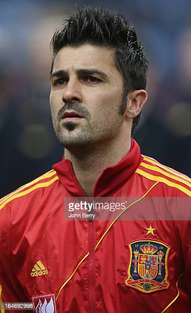 David Villa of Spain poses prior to the FIFA World Cup 2014 qualifier match between France and Spain at the Stade de France on March 26 2013 in...