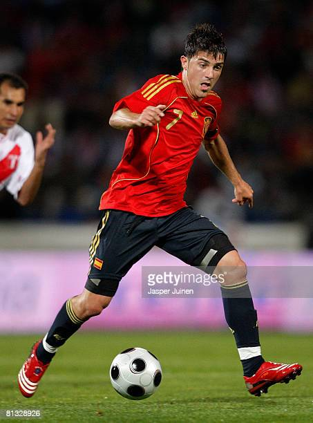 David Villa of Spain runs with the ball during the international friendly match between Spain and Peru at the Nuevo Colombino stadium on May 31 2008...