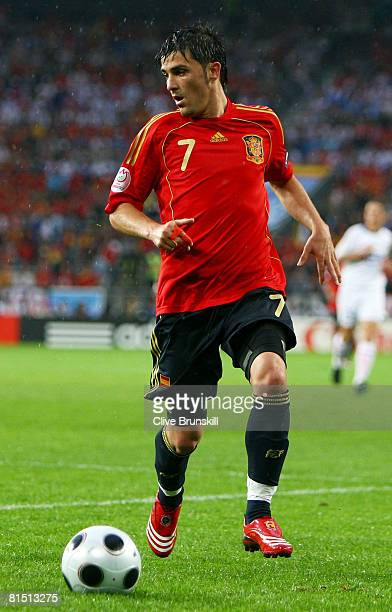 David Villa of Spain runs with the ball during the UEFA EURO 2008 Group D match between Spain and Russia at Stadion Tivoli Neu on June 10 2008 in...