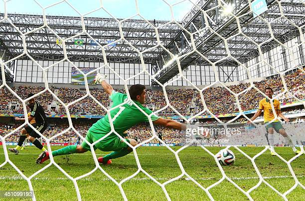 David Villa of Spain scores his team's first goal with a back heel past Mathew Ryan of Australia during the 2014 FIFA World Cup Brazil Group B match...