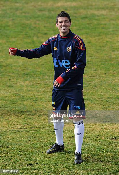 David Villa of Spain smiles during a training session, ahead of their World Cup 2010 Quarter-Final match against Paraguay, on July 2, 2010 in...