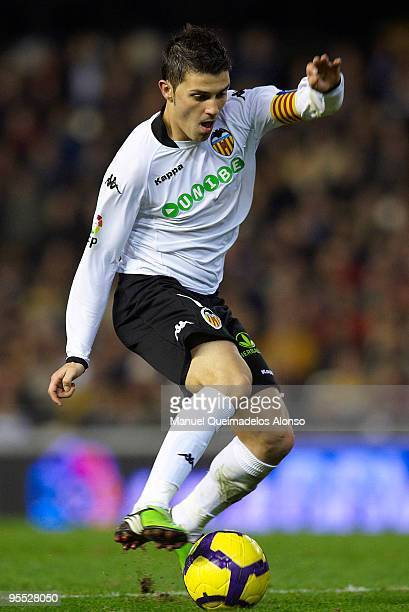 David Villa of Valencia controls the ball during the La Liga match between Valencia and Espanyol at Estadio Mestalla on January 2 2010 in Valencia...