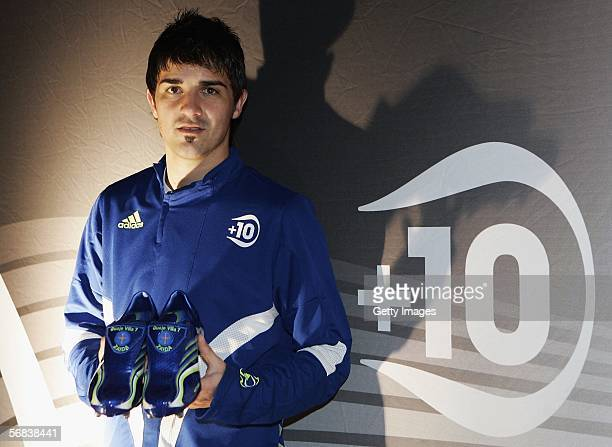 David Villa presents his new shoes during the Major adidias F50 Tunit Launch Event on February 13 2006 in Munich Germany