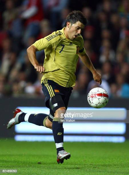 David Villa Sanchez of Spain plays during the International Friendly match between Denmark and Spain on August 20 2008 at the Parken Stadium in...