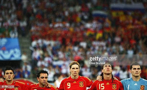 David Villa Xavi Hernandez Fernando Torres Sergio Ramos and Iker Casillas of Spain line up during the UEFA EURO 2008 Group D match between Spain and...