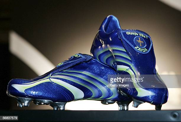 David Villa`s new shoes are displayed during the Major adidias F50 Tunit Launch Event on February 13 2006 in Munich Germany