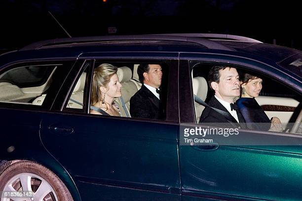 David Viscount Linley and his wife Serena Viscountess Linley with Lady Sarah Chatto and husband Daniel Chatto at the Queen's 80th birthday dinner at...
