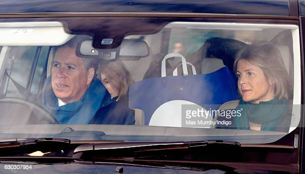 David Viscount Linley and Serena Viscountess Linley attend a Christmas lunch for members of the Royal Family hosted by Queen Elizabeth II at...