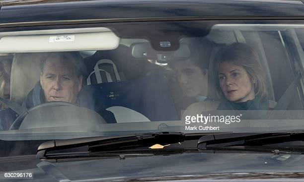 David Viscount Linley and Serena Viscountess Linley attend the annual Buckingham Palace Christmas lunch hosted by The Queen at Buckingham Palace on...