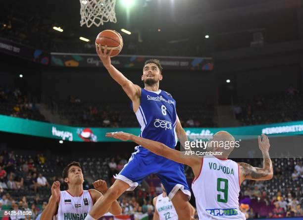 TOPSHOT David Vojvoda of Hungary vies with Tomas Satoransky of Czech Republic during the FIBA Eurobasket 2017 mens basketball match between Hungary...