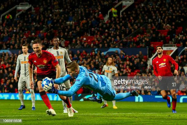 David von Ballmoos of BSC Young Boys and Nemanja Matic of Manchester United during the Group H match of the UEFA Champions League between Manchester...